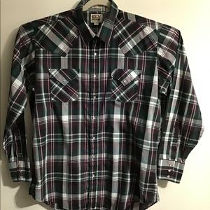 Ely Cattleman green plaid pearl snap. XLarge Tall